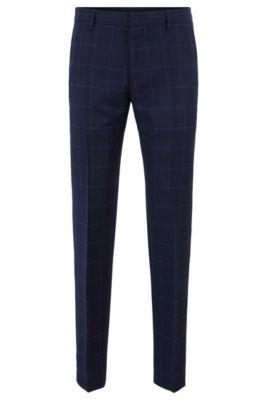 Slim-fit broek van geruite scheerwol, Donkerblauw
