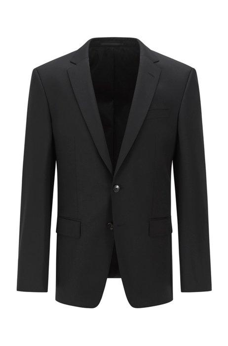 Slim-fit jacket in virgin-wool serge, Black
