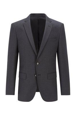 Slim-fit jacket in virgin-wool serge, Dark Grey