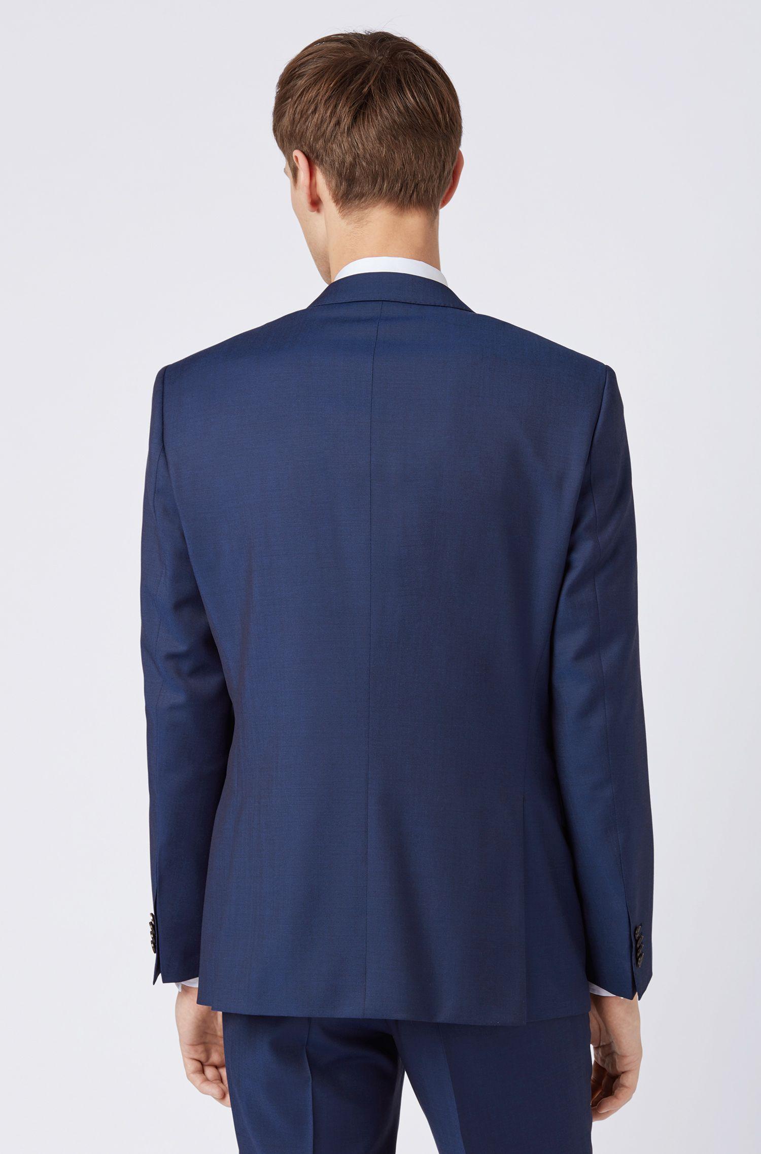 Slim-fit colbert van gemêleerde scheerwol, Donkerblauw