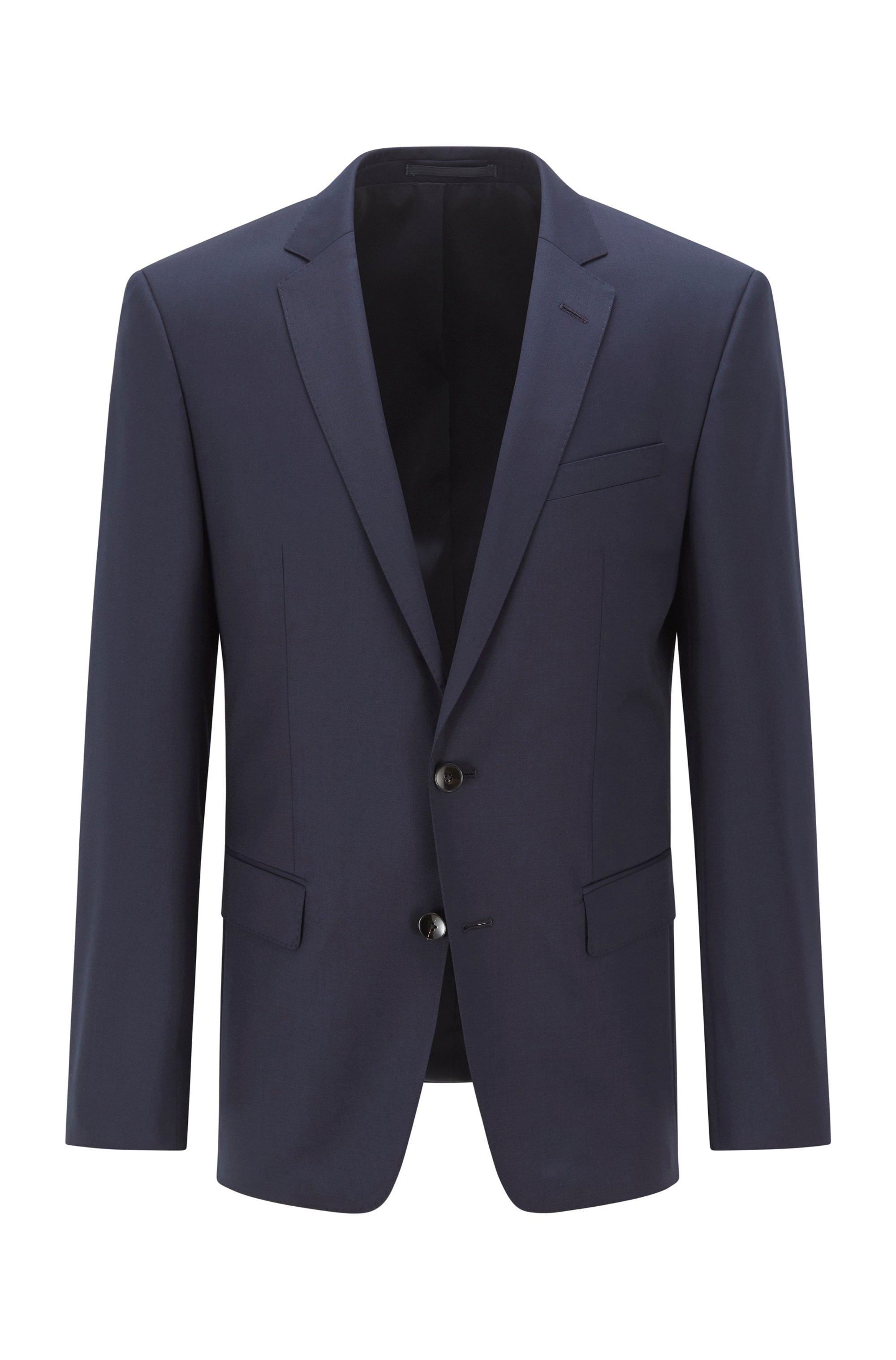 Chaqueta slim fit en sarga de lana virgen, Azul oscuro