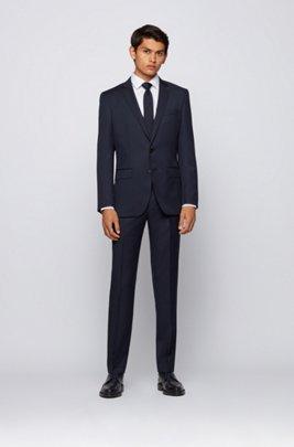Slim-fit jacket in virgin-wool serge, Dark Blue