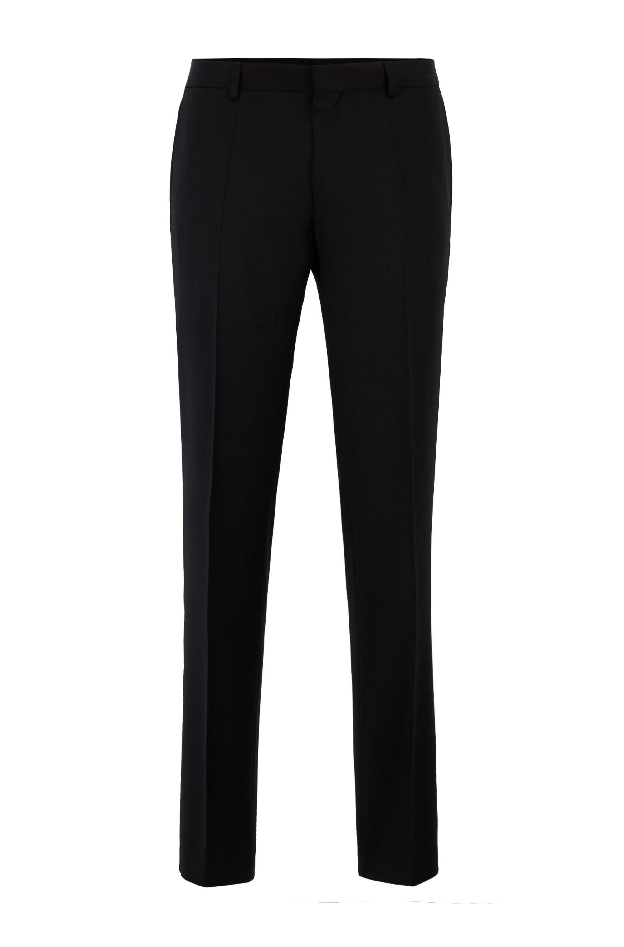 Pantalones slim fit en sarga de lana virgen jaspeada, Negro