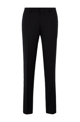 Slim-fit trousers in melange virgin-wool serge, Black