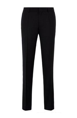 Slim-fit trousers in melange virgin-wool serge, Black