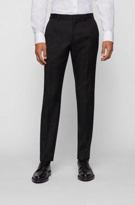 Slim-fit broek in een serge van gemêleerde scheerwol, Zwart