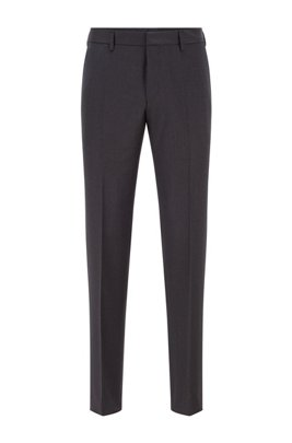 Slim-fit trousers in melange virgin-wool serge, Dark Grey