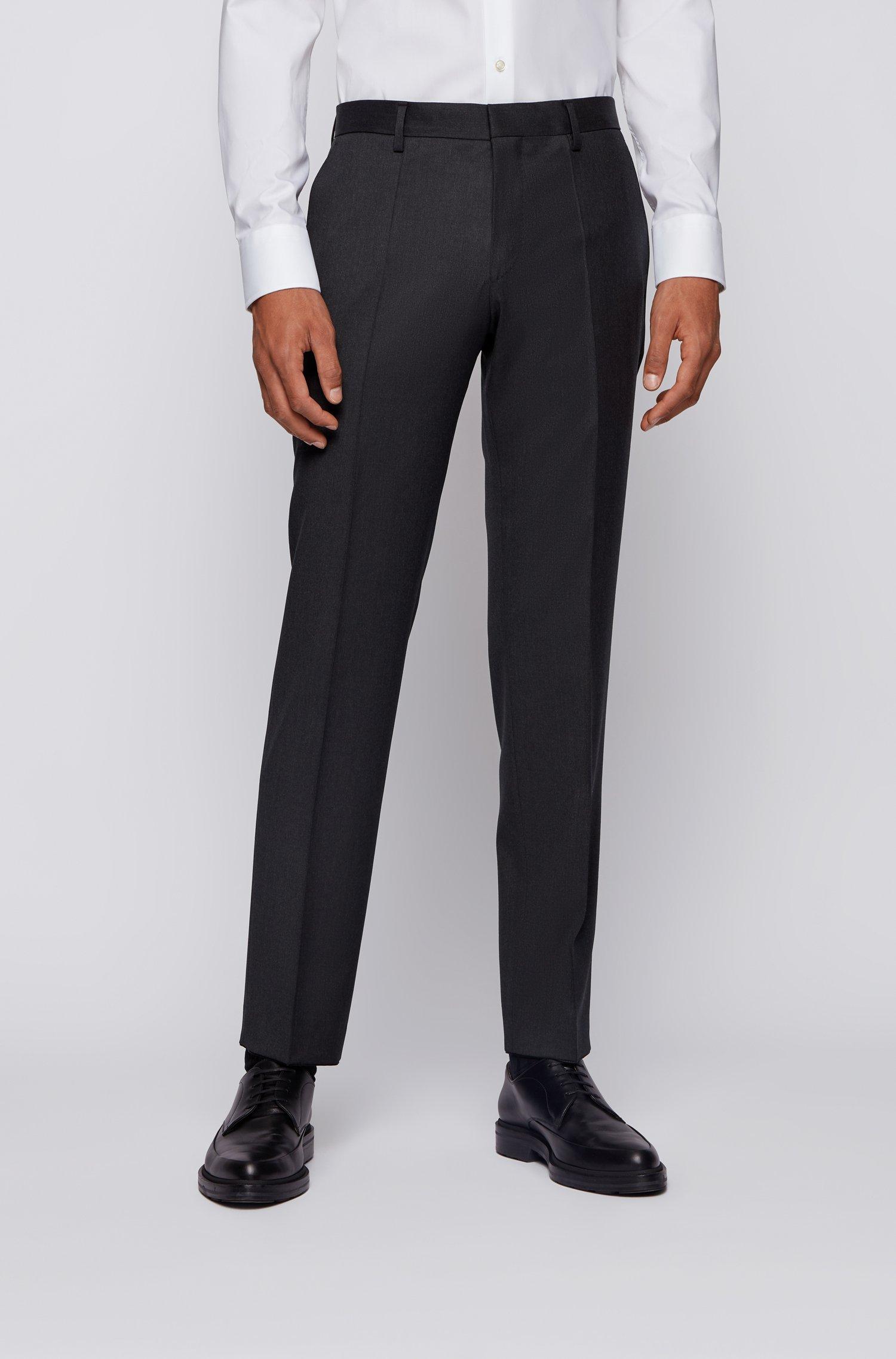 Slim-fit trousers in melange virgin-wool serge, Dark Grey
