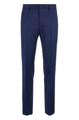 Pantalon Slim Fit en sergé de laine vierge, Bleu foncé