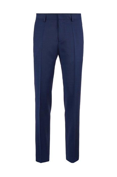 Slim-fit trousers in melange virgin-wool serge, Blue