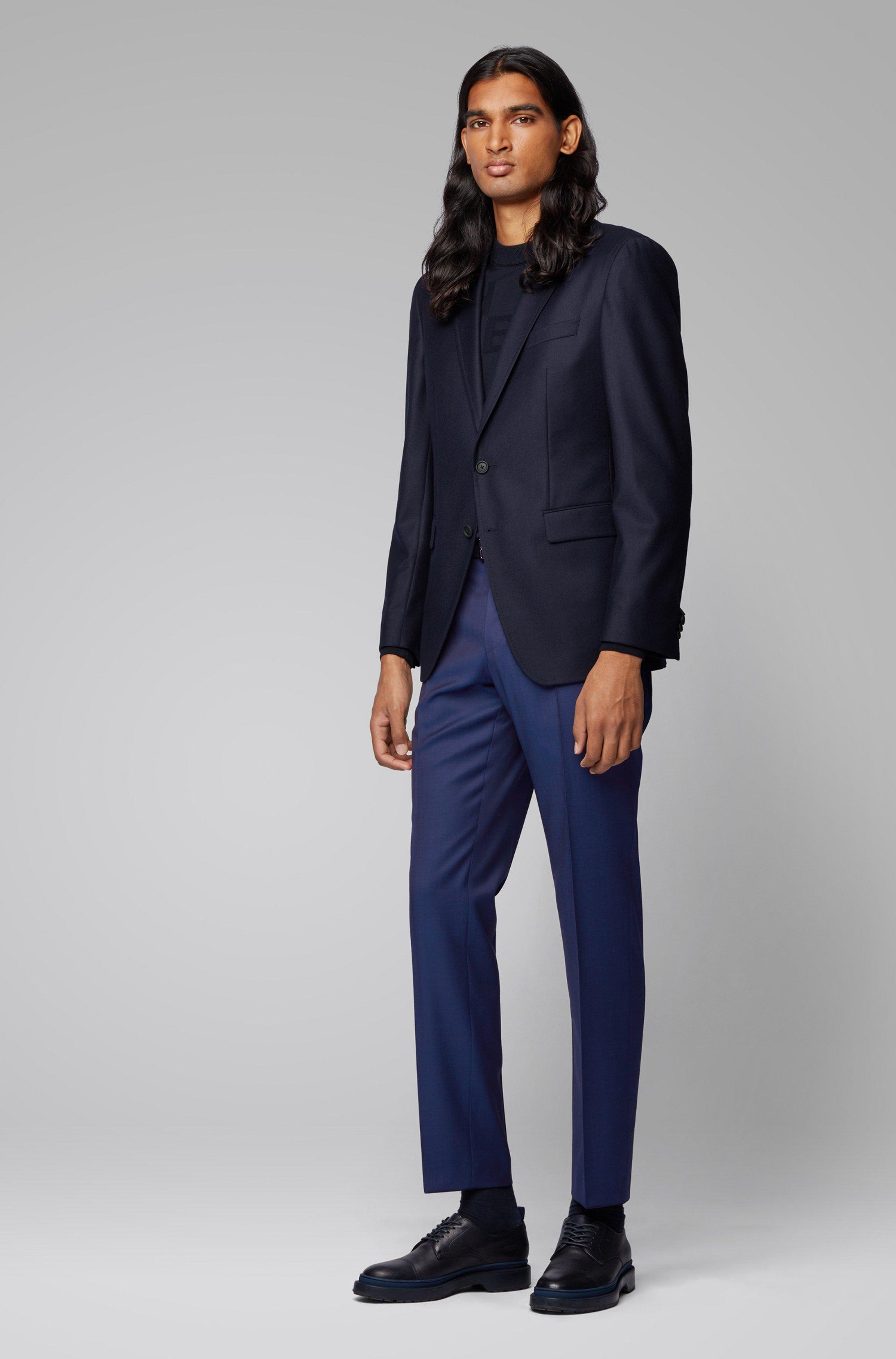 Slim-fit trousers in melange virgin-wool serge
