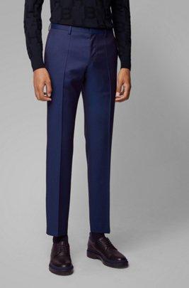 Slim-fit broek in een serge van gemêleerde scheerwol, Donkerblauw
