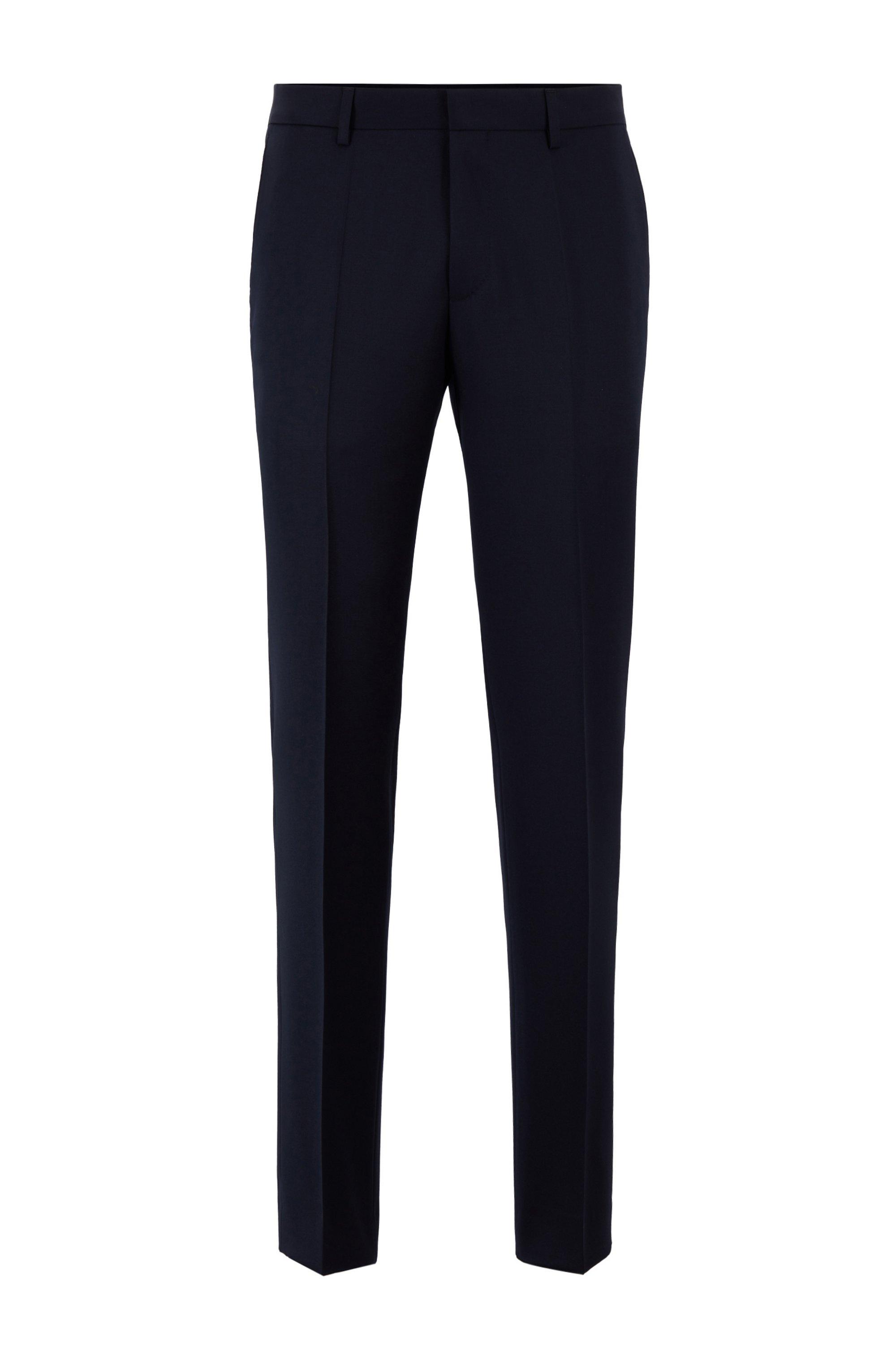 Pantalones slim fit en sarga de lana virgen jaspeada, Azul oscuro