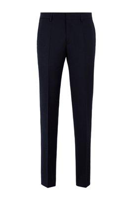 Slim-fit trousers in melange virgin-wool serge, Light Blue