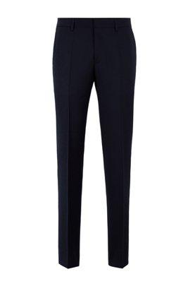 Slim-fit trousers in melange virgin-wool serge, Dark Blue