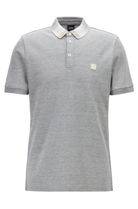 e39381ad BOSS - Cotton-piqué polo shirt with colourblock collar