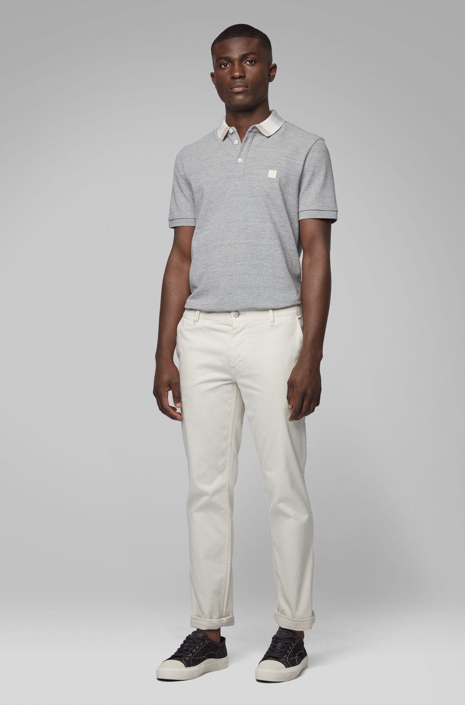 Poloshirt aus Baumwoll-Piqué mit Colour-Block-Kragen, Hellgrau