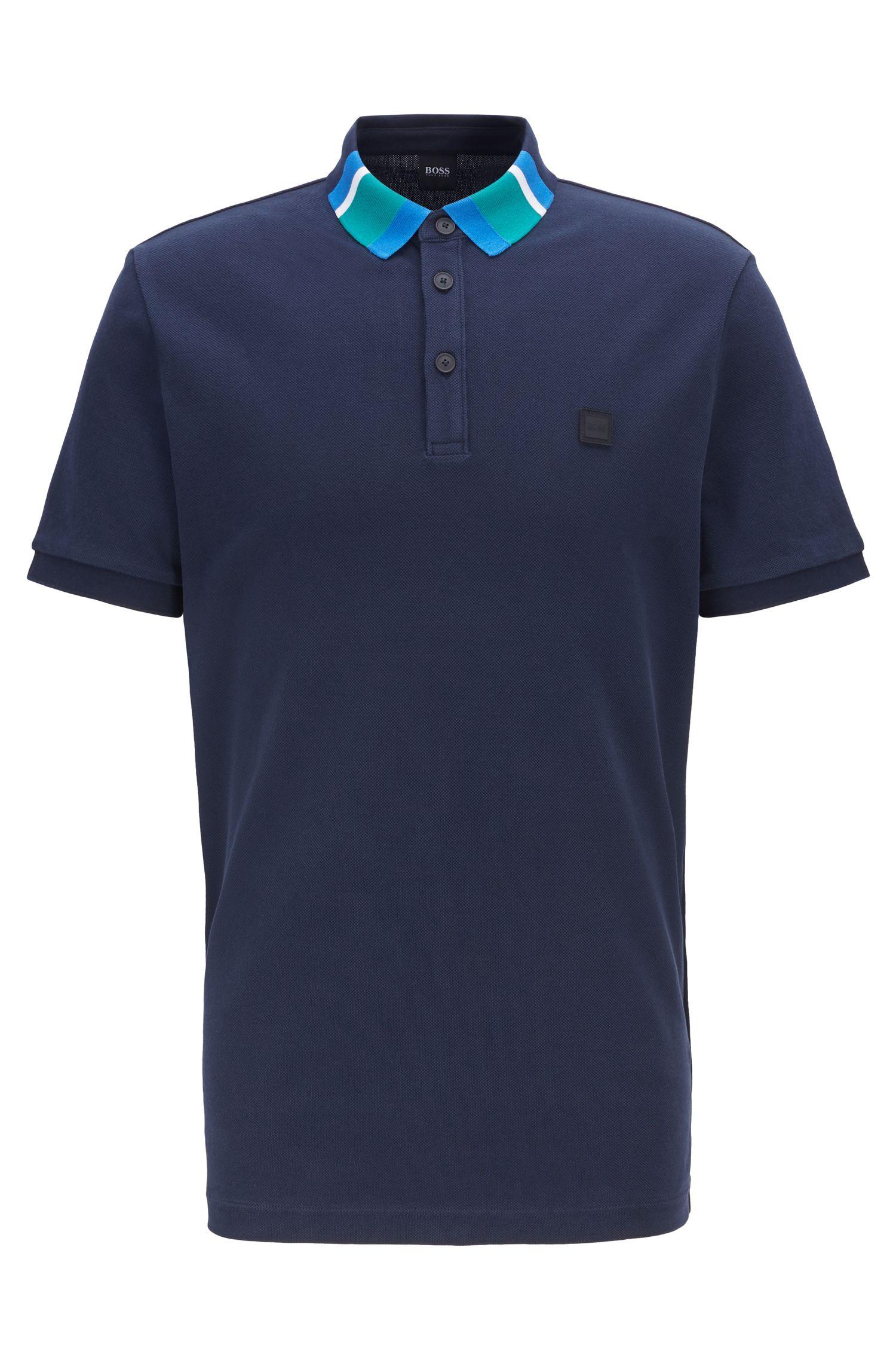 Cotton-piqué polo shirt with colourblock collar, Dark Blue