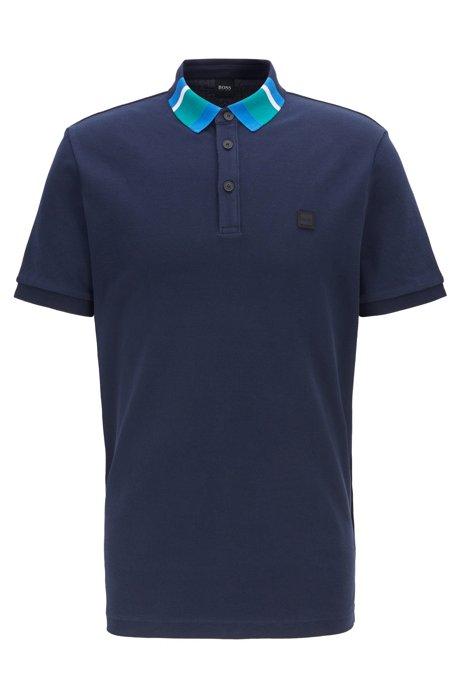 Polo en piqué de coton avec col color block, Bleu foncé