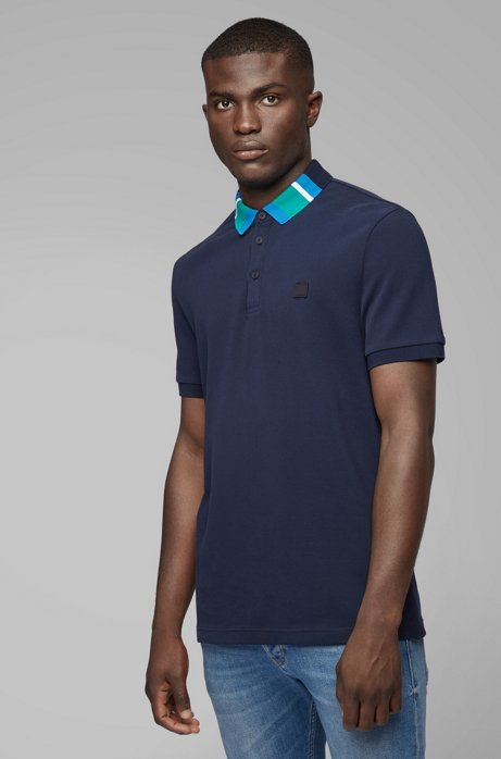 Cotton-piqué polo shirt with colourblock collar, Dark Blue