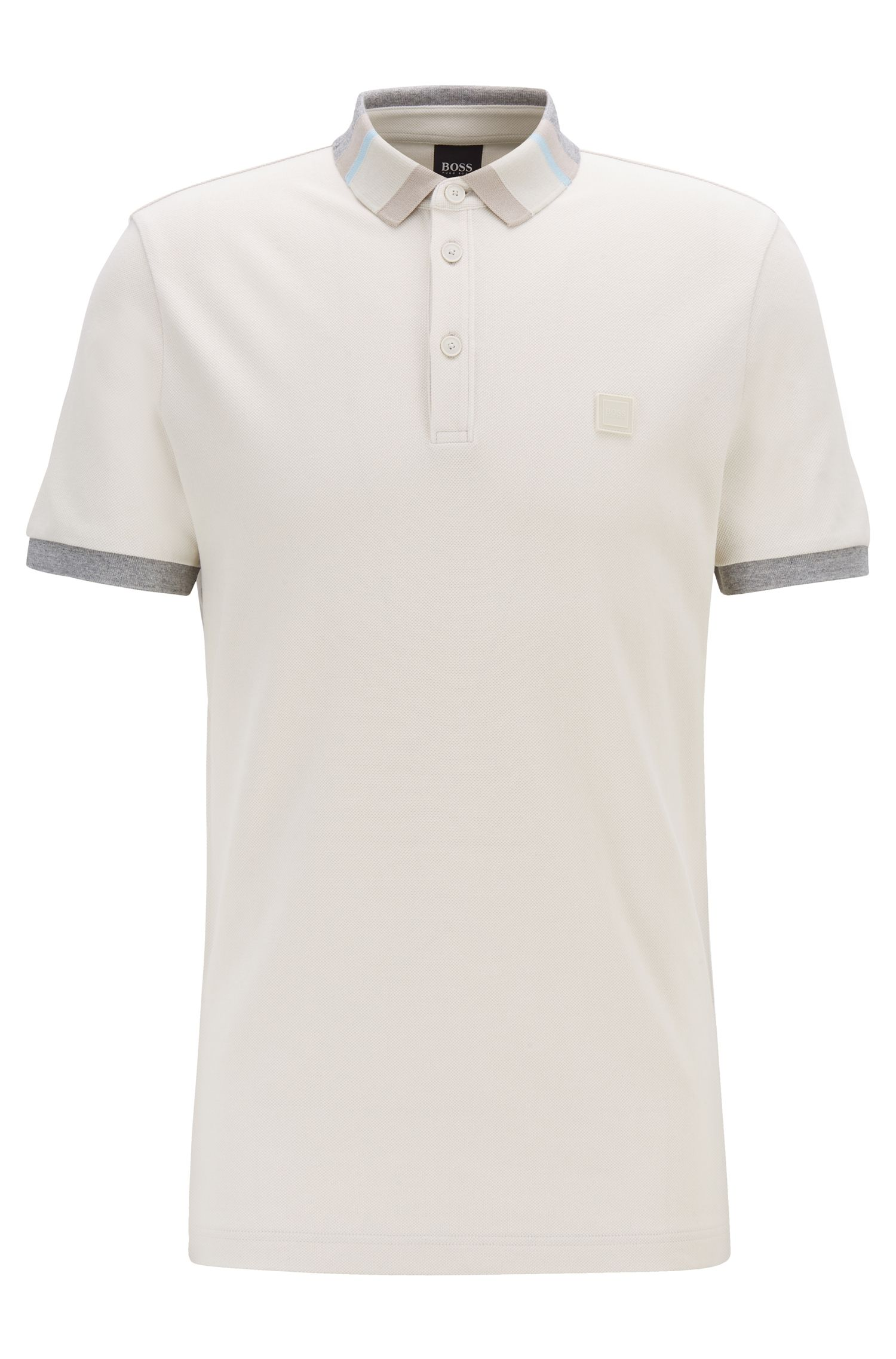 Polo en piqué de coton avec col color block, Blanc