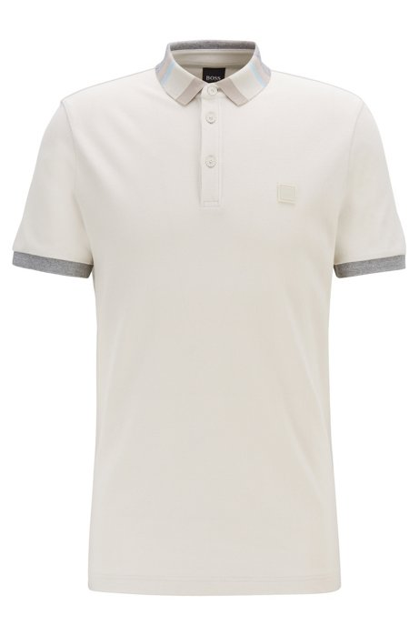 Cotton-piqué polo shirt with colourblock collar, Light Blue