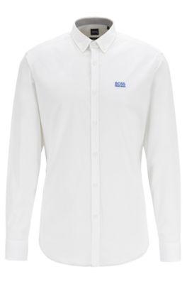 Regular-Fit Button-Down-Hemd aus Stretch-Baumwolle mit Feuchtigkeitsregulierung, Weiß