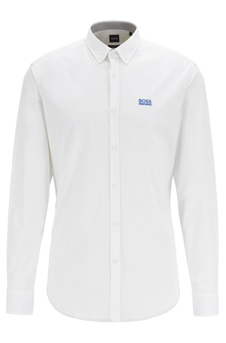 Button-down regular-fit shirt with moisture management, White