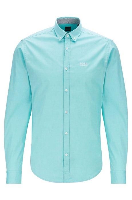 Button-down regular-fit shirt with moisture management, Light Green