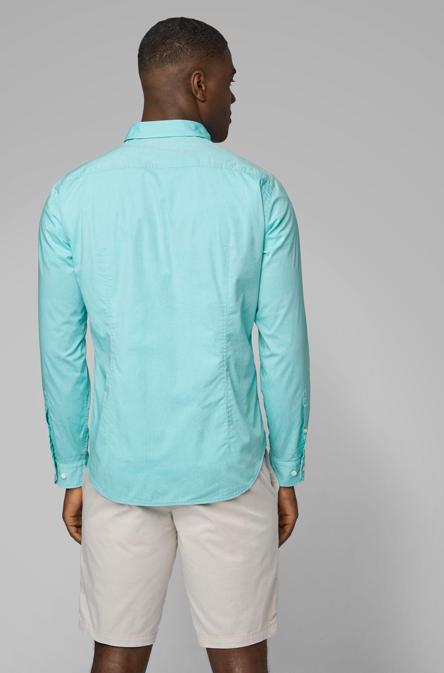 Regular-fit overhemd met buttondownkraag en vochtbeheersing, Kalk
