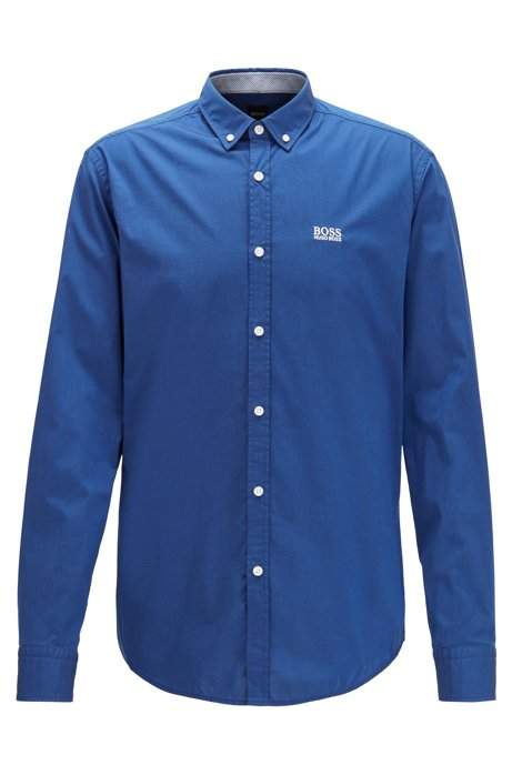 Camicia button-down regular fit con tecnologia di gestione dell'umidità, Blu