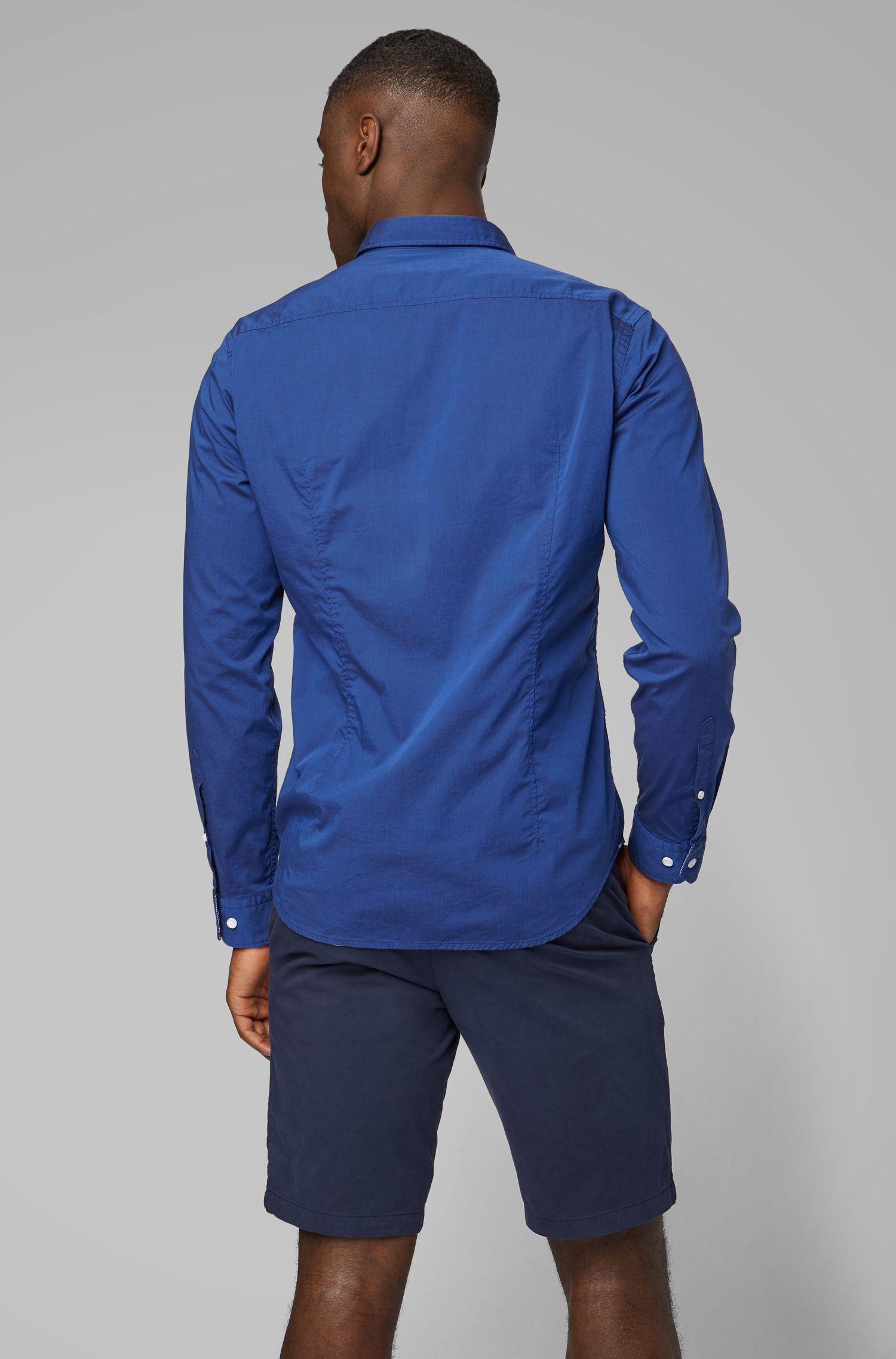 Regular-fit overhemd met buttondownkraag en vochtbeheersing, Blauw