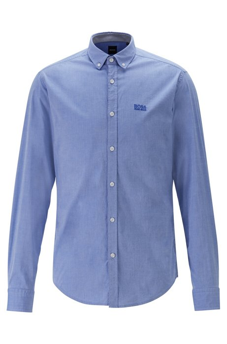 Button-down regular-fit shirt with moisture management, Blue