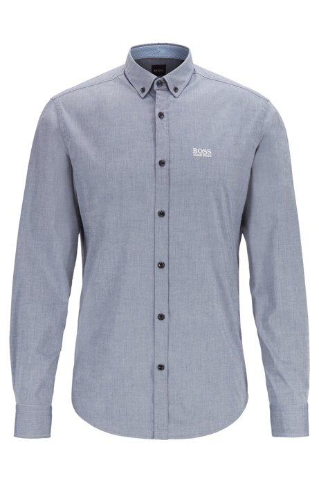 Chemise Regular Fit à col à pointes boutonnées avec gestion de l'humidité, Bleu foncé
