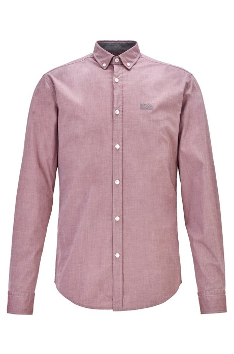 Button-down regular-fit shirt with moisture management, Red