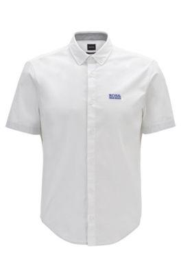 Camisa regular fit de manga corta en algodón elástico, Blanco