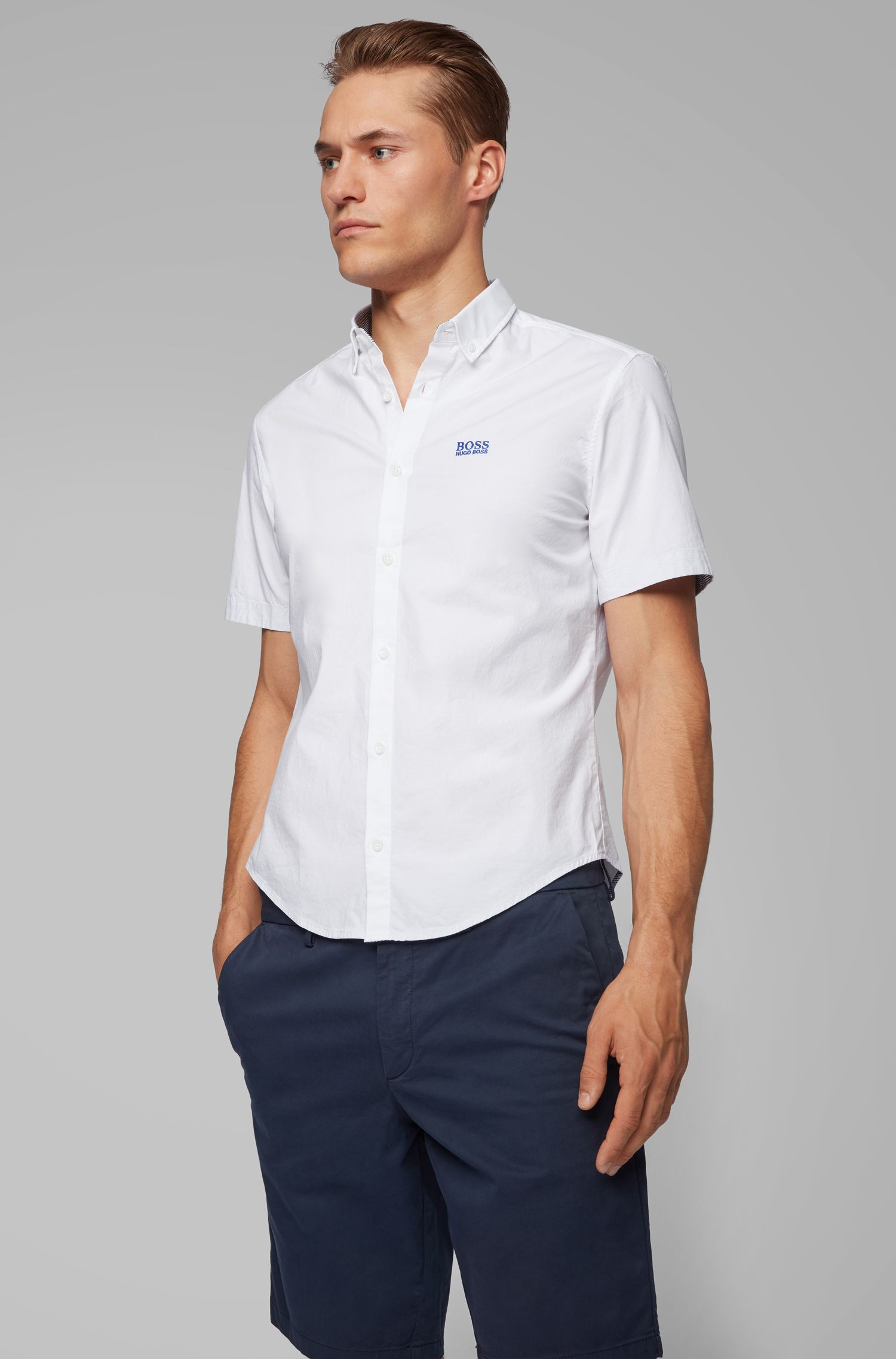 Short-sleeved regular-fit shirt in stretch cotton, White