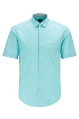 Chemise à manches courtes Regular Fit en coton stretch, Chaux