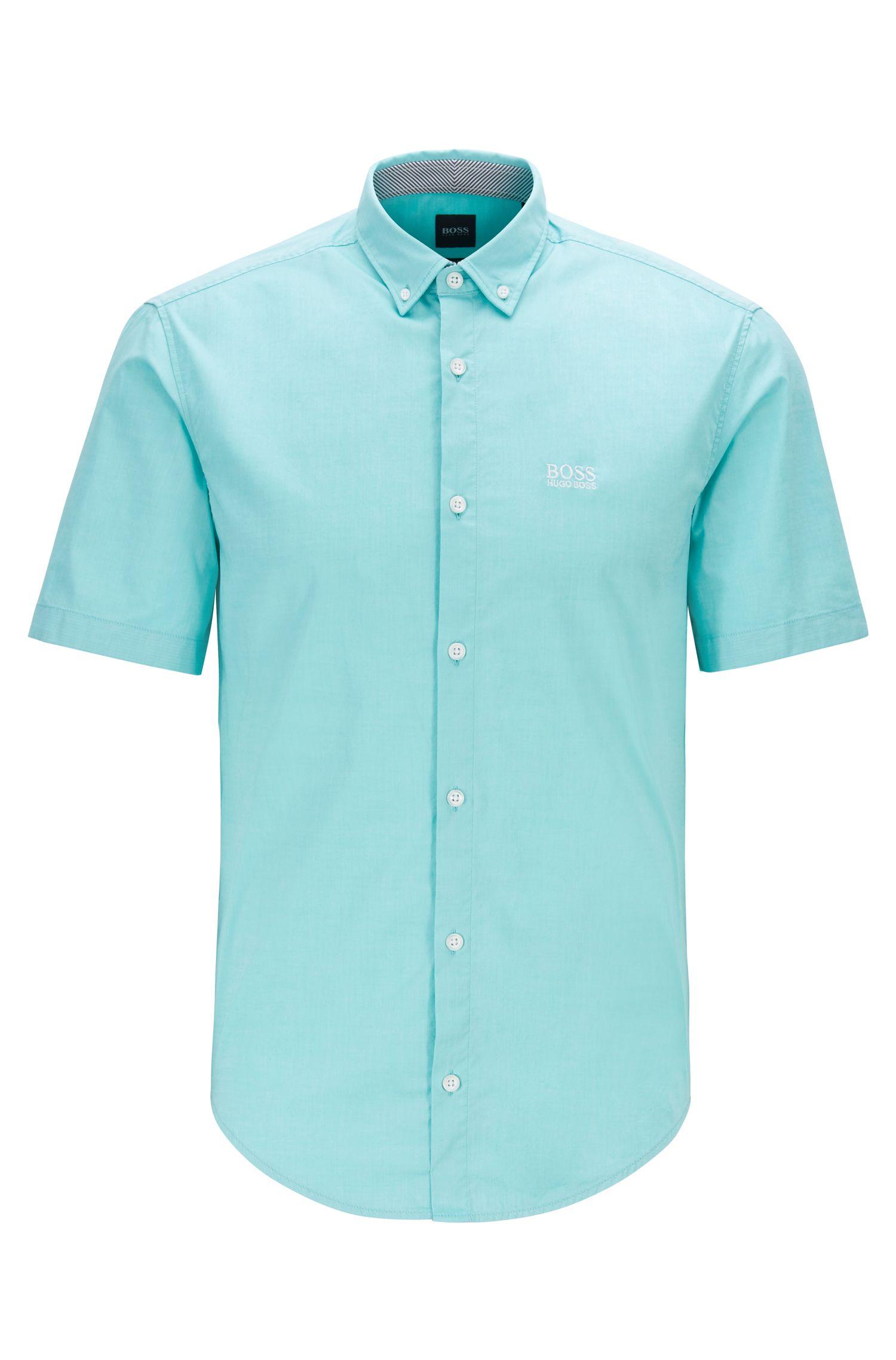 Regular-Fit Kurzarm-Hemd aus Stretch-Baumwolle, Hellgrün