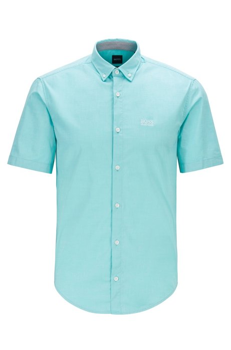 Regular-fit overhemd van stretchkatoen met korte mouwen, Kalk
