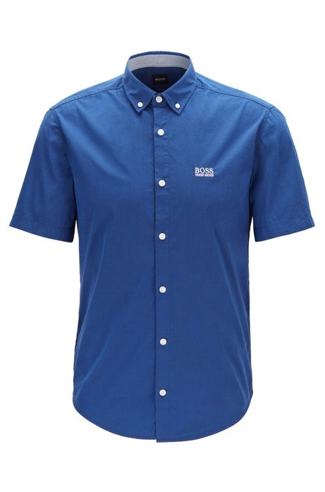 Short-sleeved regular-fit shirt in stretch cotton, Blue