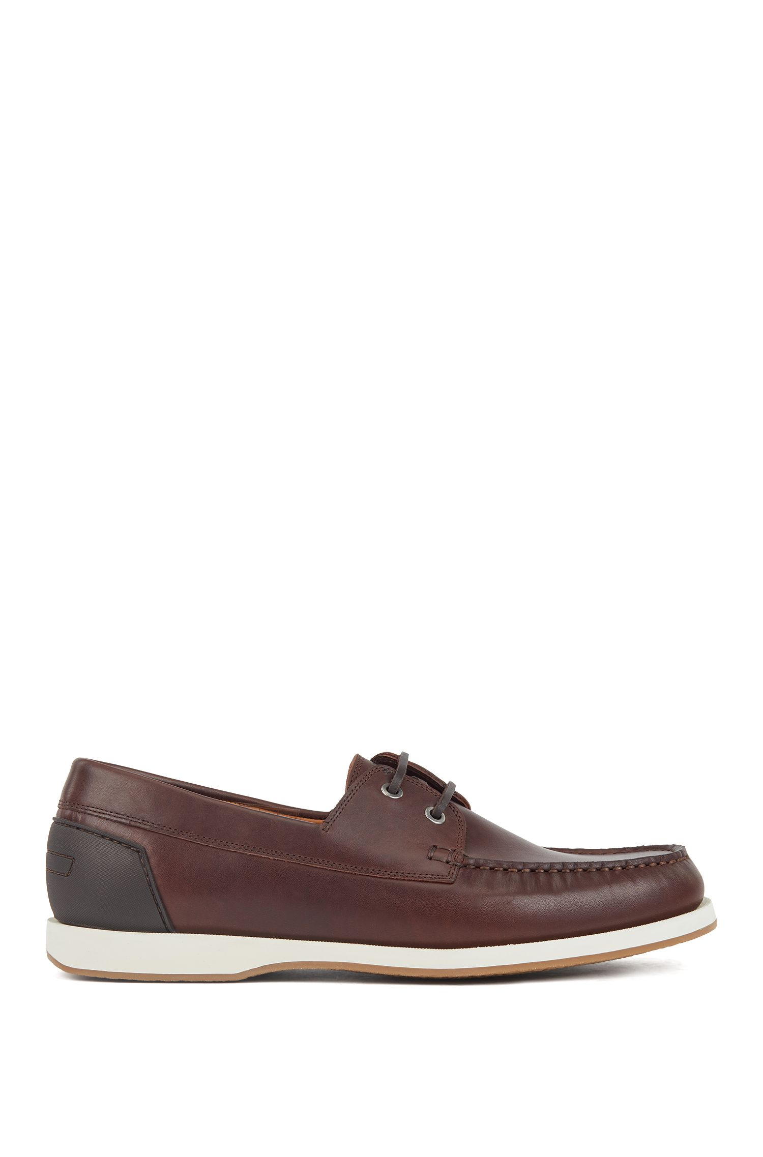 Leather moccasins with contrast sole and rubberised heel, Dark Brown