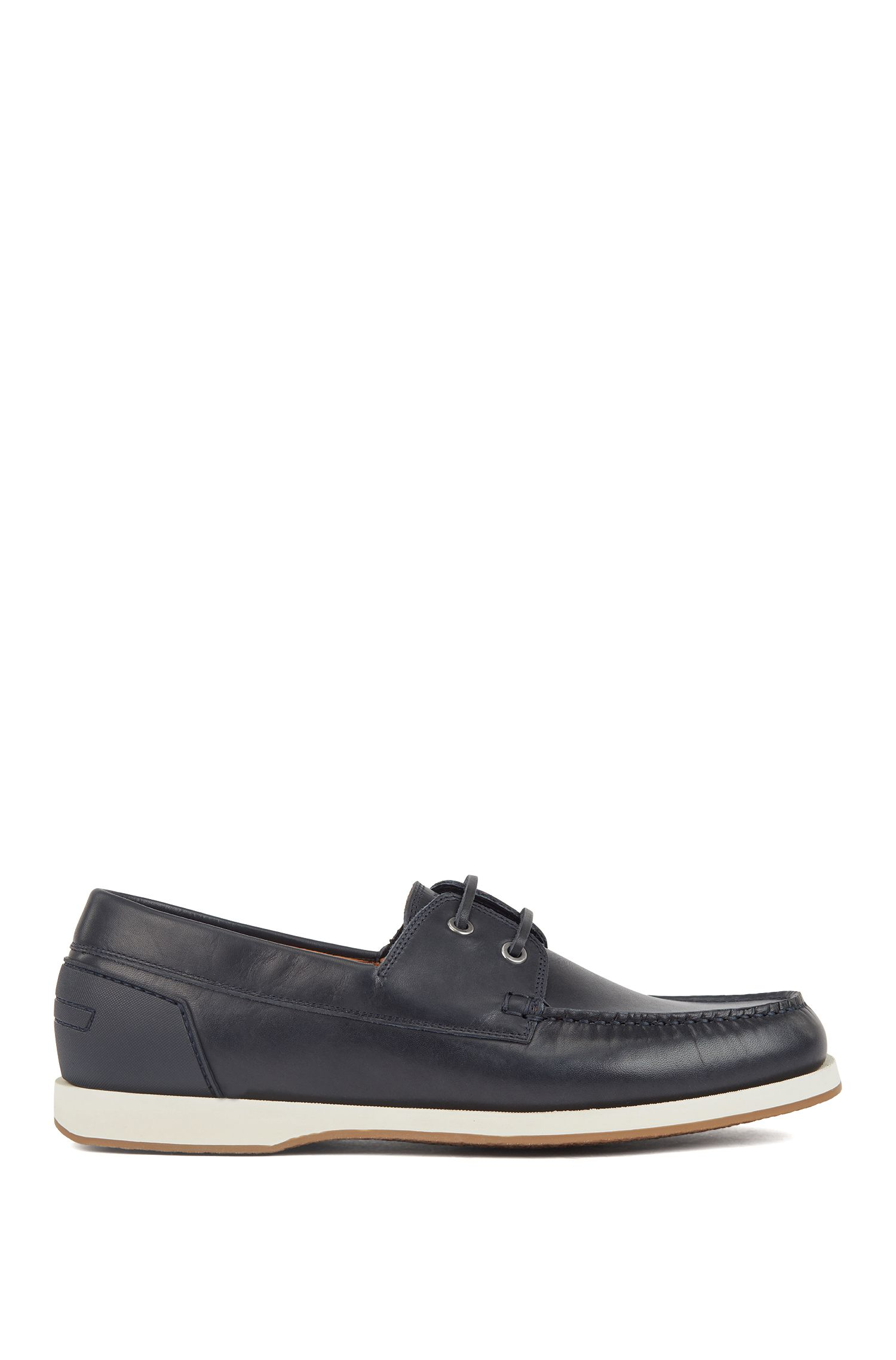 Leather moccasins with contrast sole and rubberised heel, Dark Blue