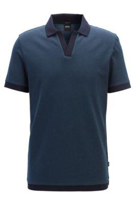 Poloshirt aus Baumwoll-Jacquard mit Johnny-Kragen, Blau