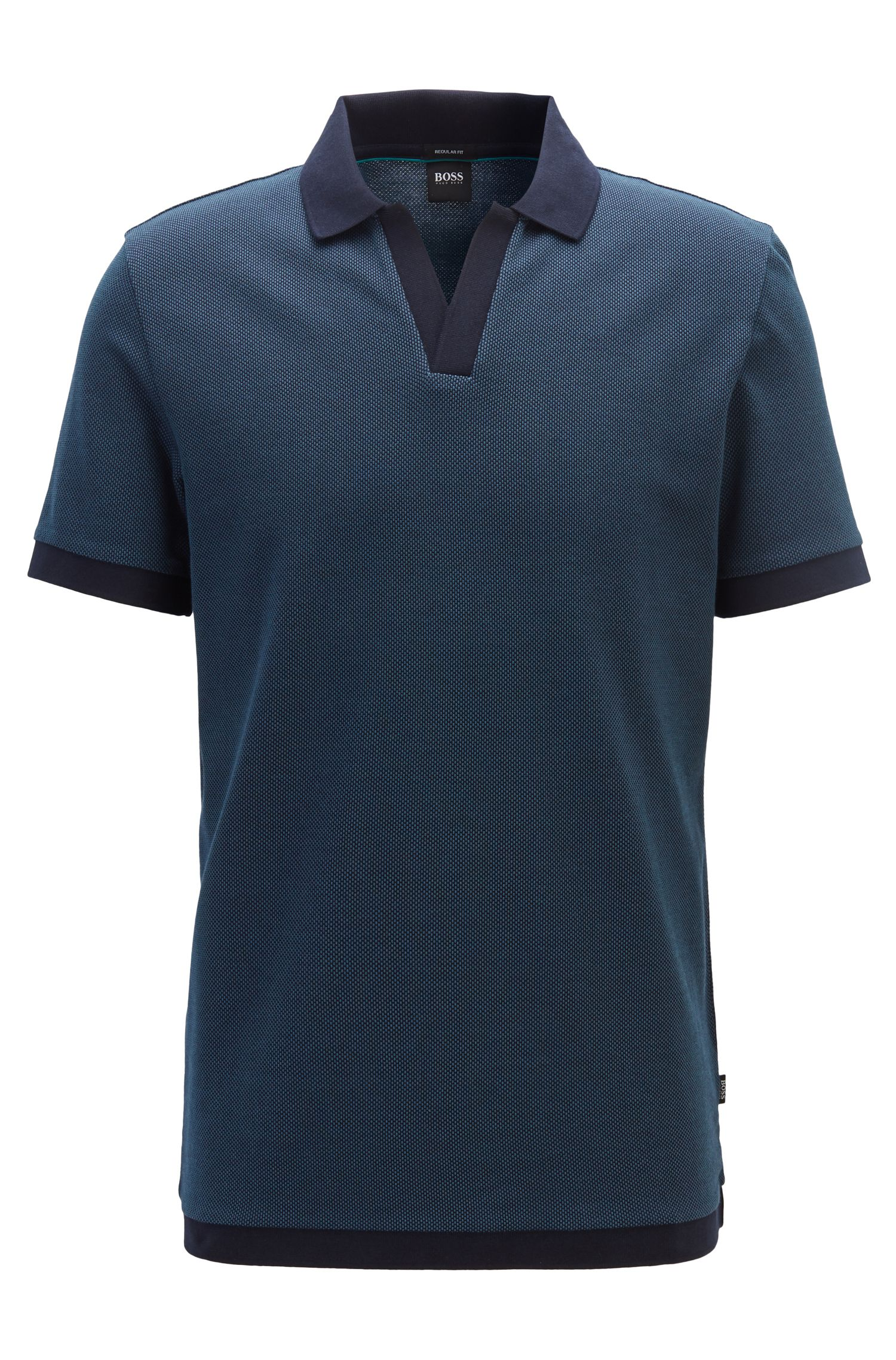 Polo in cotone jacquard con colletto aperto senza bottoni, Blu