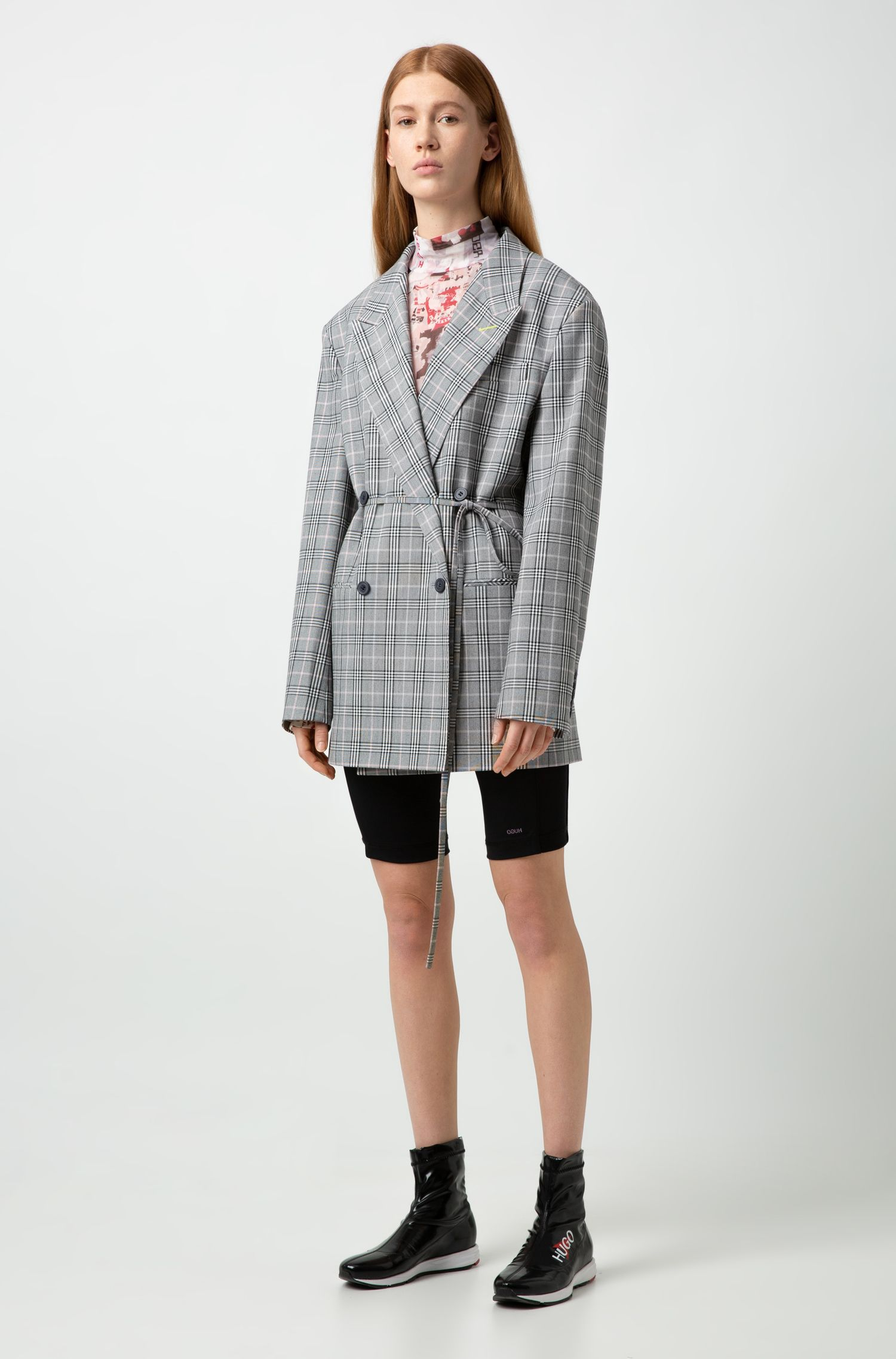 Fashion Show relaxed-fit checked jacket with drawstring waist, Patterned