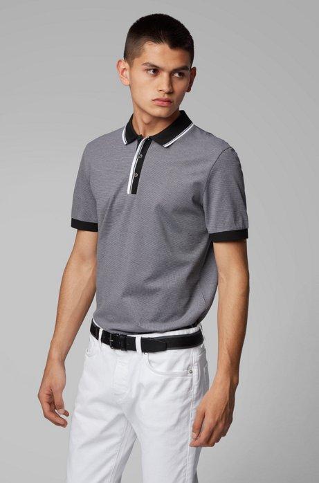 Poloshirt aus Baumwolle mit zweifarbigen Details, Schwarz