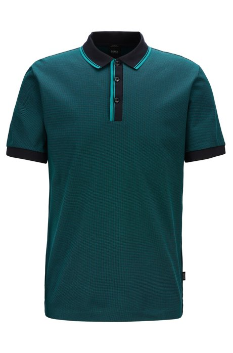 Slim-fit polo shirt with two-tone trims, Dark Blue