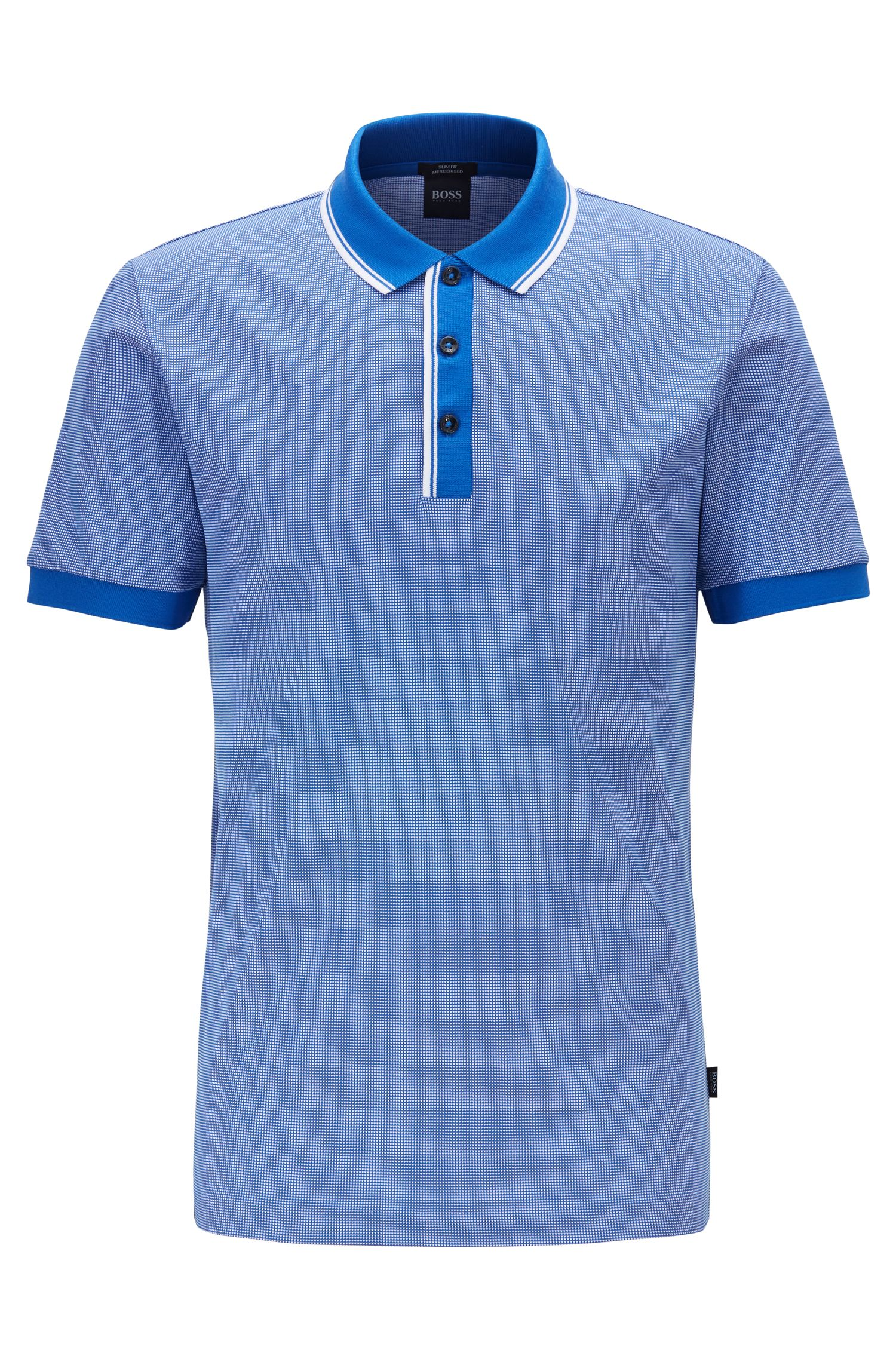 Polo Slim Fit aux finitions bicolores, Bleu