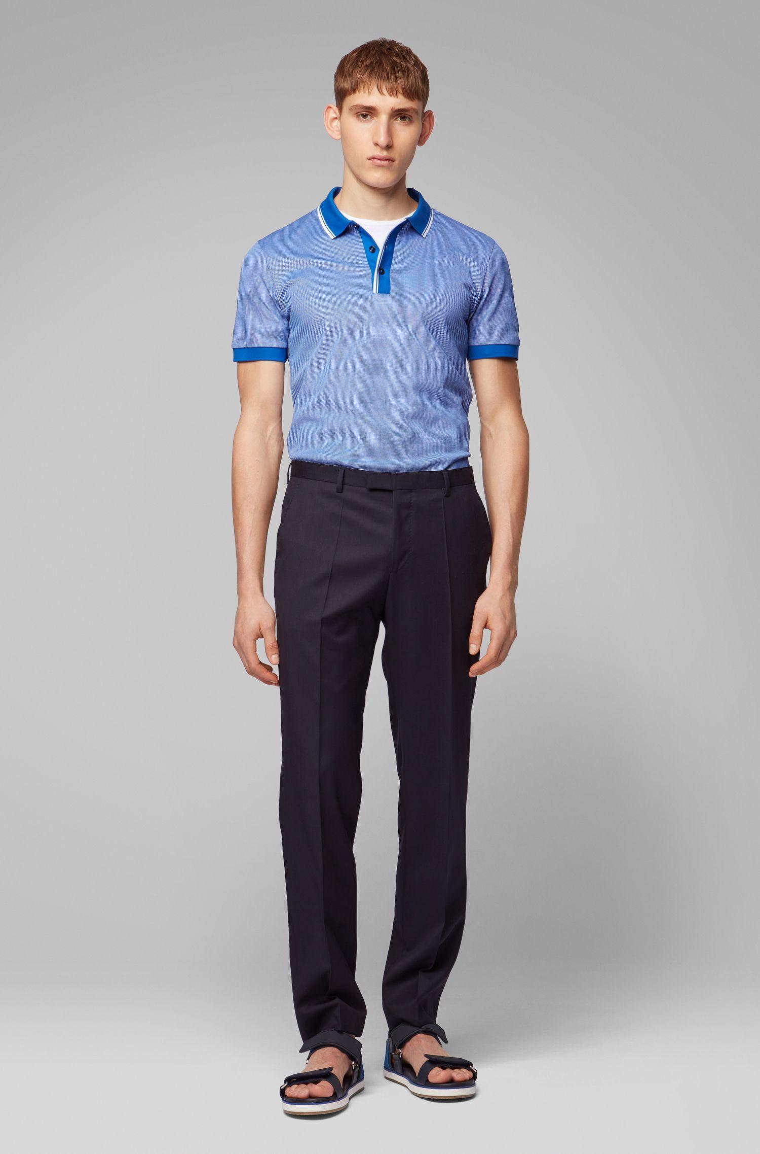 Poloshirt aus Baumwolle mit zweifarbigen Details, Blau